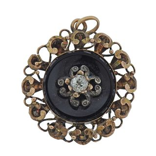 Antique Victorian 14k Gold Diamond Onyx Pendant