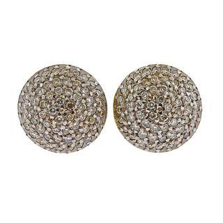Gurhan Lentil 24k 18k Gold Diamond Stud Earrings