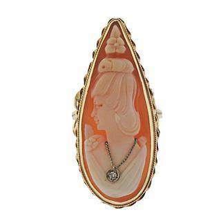 14k Gold Cameo Diamond Ring