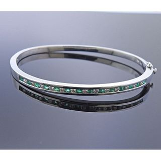 14k Gold Diamond Emerald Bangle Bracelet