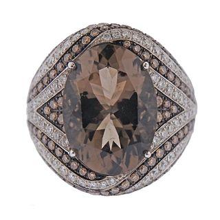 Asprey 18k Gold Diamond Smokey Topaz Ring