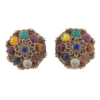 1960s 14k Gold Multi Gemstone Earrings