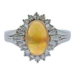 Platinum Fire Opal Diamond Ring