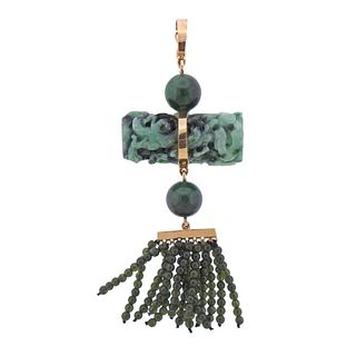14k Gold Carved Green Jade Necklace Pendant