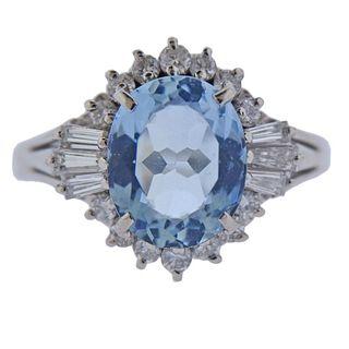Platinum Aquamarine Diamond Ring