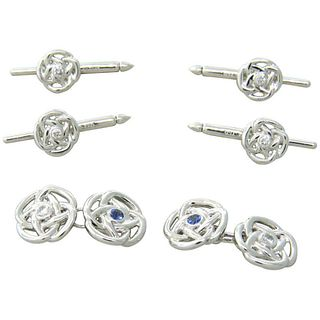 Trianon Diamond Sapphire Gold Cufflink Stud Dress Set