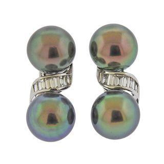 Assael Tahitian South Sea Diamond Gold Earrings