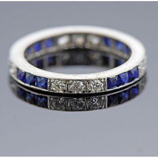 Art Deco Platinum Diamond Sapphire Band Ring