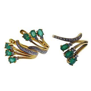 14k Gold Diamond Emerald Earrings Ring Set