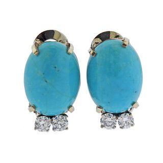 14k Gold Diamond Turquoise Earrings