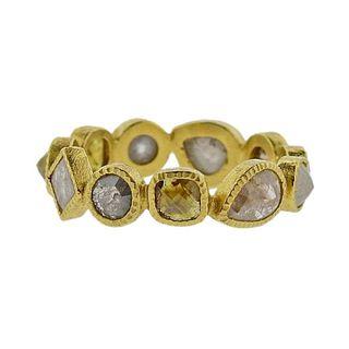 Todd Reed Gold Rose Cut Rough 3.45 Carat Diamond Eternity Band Ring