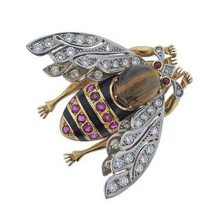 Antique 18k Gold Ruby Diamond Enamel Tiger's Eye Insect Brooch