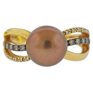 Le Vian LeVian Gold Chocolate Pearl Diamond Ring