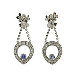 Theo Fennell Gold Diamond Sapphire Drop Flower Earrings