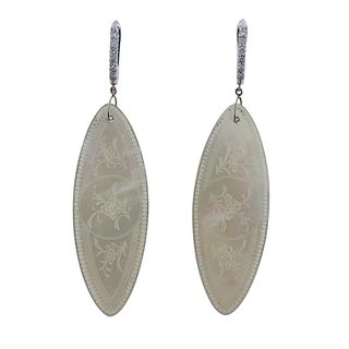 14k Gold Diamond Carved Mother of Pearl Earrings
