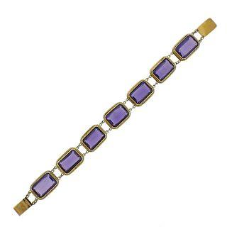 18k Gold Purple Stone Bracelet