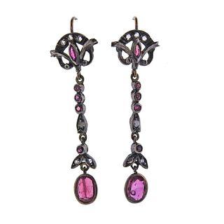 Antique 15k Gold Silver Ruby Diamond Earrings
