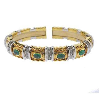 18k Gold Emerald Diamond Cuff Bracelet