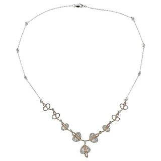 Gregg Ruth White Pink Diamond Gold Necklace