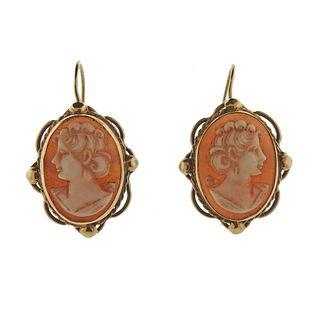 14k Gold Cameo Earrings