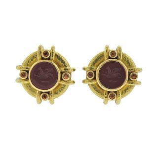 Elizabeth Locke Jasper Intaglio Citrine 19k Gold Earrings