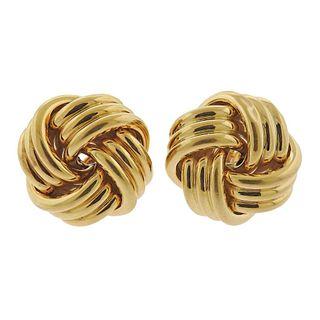 18k Gold Large Knot Earrings