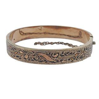 Antique Victorian 14k Gold Enamel Bangle Bracelet