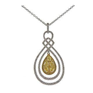 Gregg Ruth 3.04ctw Yellow White Diamond 18k Gold Pendant Necklace