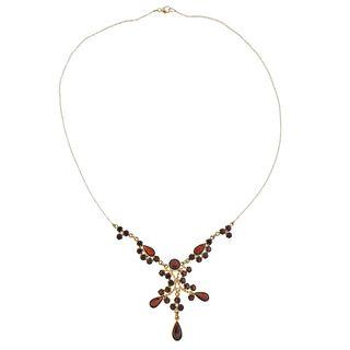 14k Gold Garnet Pendant Drop Necklace