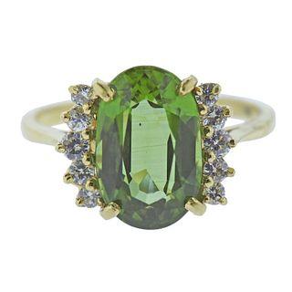 18k Gold Diamond Peridot Ring