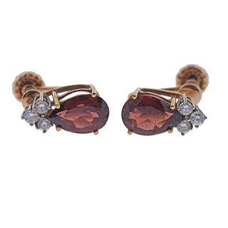 14k Gold Pink Tourmaline Diamond Earrings