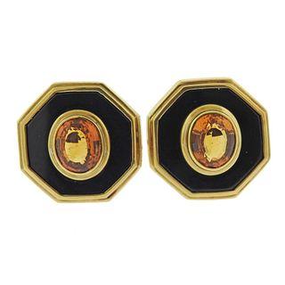 Vintage 18k Gold Onyx Citrine Earrings