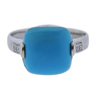 18k Gold Turquoise Diamond Ring