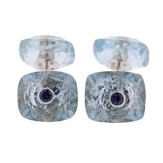 Trianon Aquamarine Sapphire 18k Gold Cufflinks