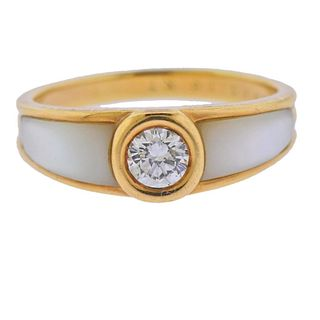 Mauboussin 18k Gold Diamond Mother of Pearl Ring