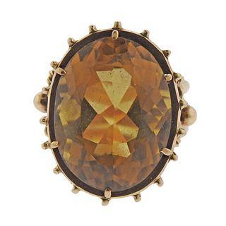 Retro 14k Gold Citrine Ring