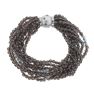Trianon Pearl Topaz Aquamarine Diamond Gold Bracelet