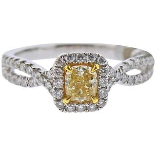 Dalumi GIA Fancy Light Yellow Diamond Gold Engagement Ring