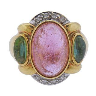 Diane Von Furstenberg 18k Gold Tourmaline Diamond Ring