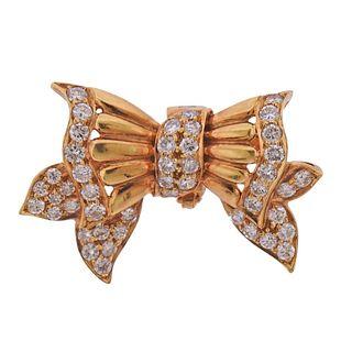 Adler 18k Gold Diamond Bow Brooch Pendant