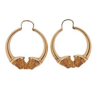 French 18k Gold Hoop Earrings