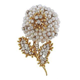 Kurt Wayne 18k Gold Diamond Pearl Flower Brooch