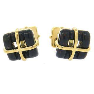 Tiffany & Co Gold Bloodstone Cufflinks