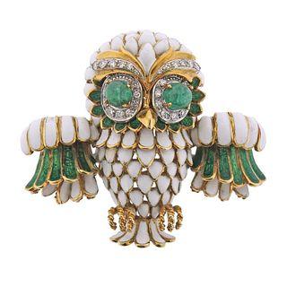 Frascarolo 18k Gold Diamond Enamel Emerald Owl Brooch