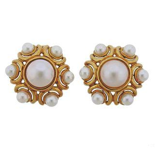 Craig Drake 18k Gold Mabe Pearl Earrings