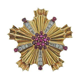 Tiffany & Co Retro 14k Gold Diamond Ruby Brooch