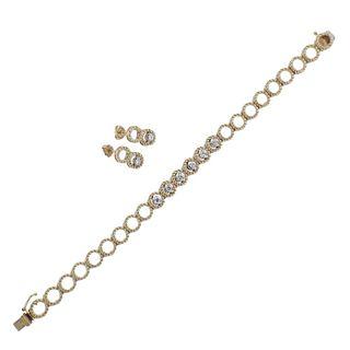 14k Gold Diamond Bracelet Earrings Set