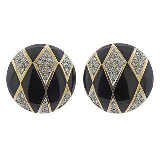 14k Gold Diamond Black Enamel Earrings