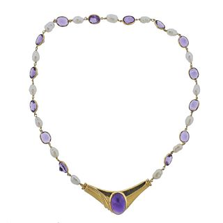 14k Gold Pearl Amethyst Pendant Necklace