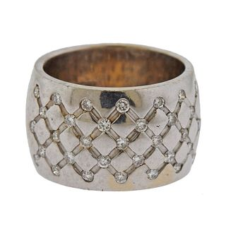 18k Gold Diamond Wide Band Ring